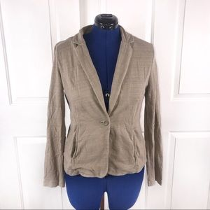 Caslon L tan cotton one button blazer